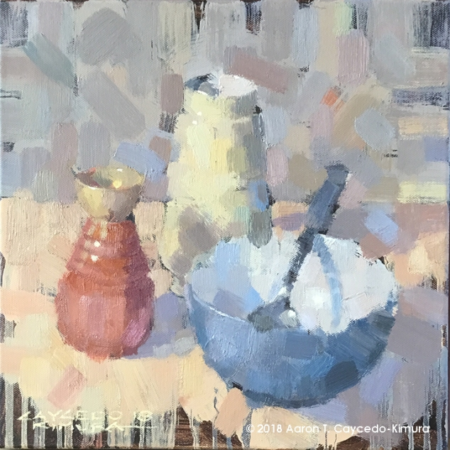 """Still Life with Red Tokkuri, Yellow Vase, Blue Bowl, & Spoon. Oil on Canvas. 12"""" x 12""""."""