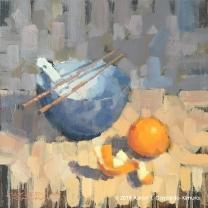"Still Life with Blue Bowl, Soup Spoon, Chopsticks, Orange, & Peel. Oil on Canvas. 18"" x 18""."