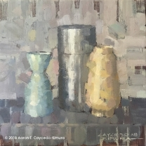 """Still Life with Green Tokkuri, Metal Tea Can, and Yellow Vase. Oil on Canvas. 12"""" x 12""""."""