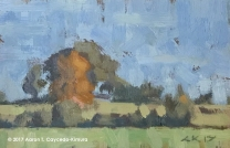 """Landscape with Field & Trees. Oil on Paper. 4"""" x 6"""". SOLD"""