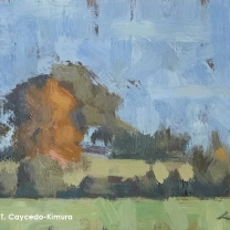 "Landscape with Field & Trees. Oil on Paper. 4"" x 6"". SOLD"