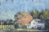 """Landscape with White House & Trees. Oil on Paper. 4"""" x 6""""."""