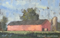 """Landscape with Red Barn, Silo, & Trees. Oil on Paper. 4"""" x 6"""". SOLD"""
