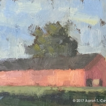 "Landscape with Red Barn, Silo, & Trees. Oil on Paper. 4"" x 6"". SOLD"