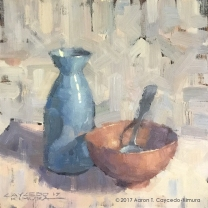 """Still Life with Blue Tokkuri, Red Bowl, & Spoon. Oil on Canvas. 12"""" x 12"""". SOLD"""