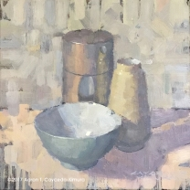 """Still Life with Green Bowl, Tea Can, & Yellow Vase. Oil on Canvas. 12"""" x 12"""". SOLD"""