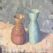 """Still Life with Red & Green Tokkuri. Oil on Canvas. 12"""" x 12""""."""