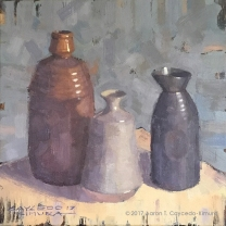 """Still Life with Large Red, Tan, & Brown Tokkuri. Oil on Canvas. 12"""" x 12"""". SOLD"""