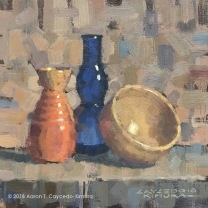 "Still Life with Red Tokkuri, Blue Glass Bottle, & Tan Bowl. Oil on Canvas. 12"" x 12"". SOLD"