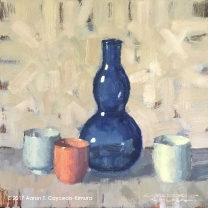 "Still Life with Blue Glass Bottle & Three Ochoko. Oil on Canvas. 12"" x 12"". SOLD"