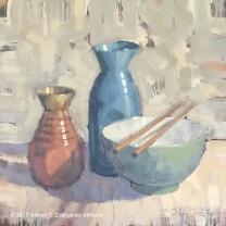"Still Life with Red Tokkuri & Blue Tokkuri, Green Bowl, & Chopsticks. Oil on Canvas. 12"" x 12"". SOLD"