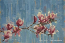 "Magnolias. Oil on MDF. 12"" x 18"". SOLD"