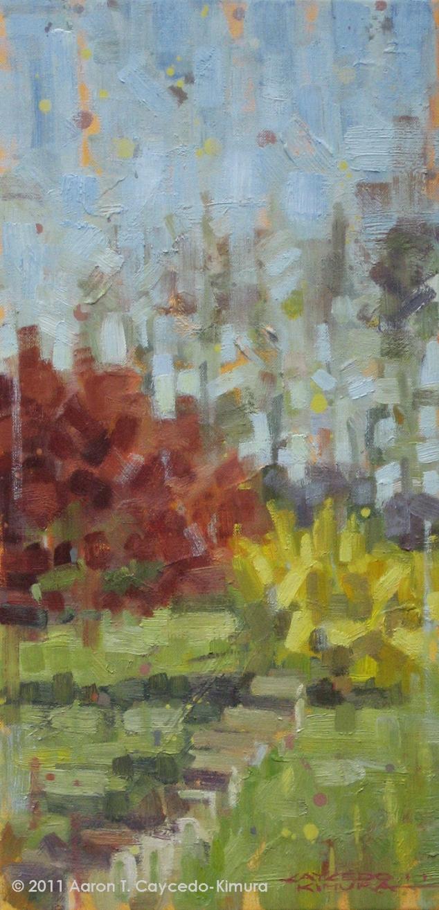 """Japanese Maple & Forsythia. Oil on Canvas. 24"""" x 12""""."""