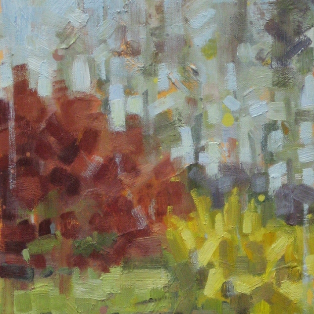 "Japanese Maple & Forsythia. Oil on Canvas. 24"" x 12""."