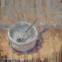 """Bowl & Spoon. Oil on Canvas. 36"""" x 36""""."""