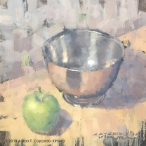 """Still Life with Green Apple & Paul Revere Bowl. Oil on Canvas. 12"""" x 12"""". SOLD"""