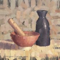 "Still Life with Suribachi & Brown Tokkuri. Oil on Canvas. 12"" x 12""."