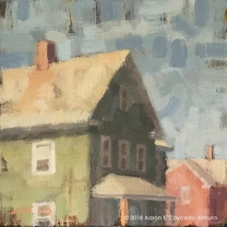 """Green & Red Houses. Oil on Canvas. 10"""" x 10""""."""