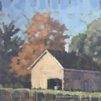 """Pale Pink Barn. Oil on Canvas. 18"""" x 18"""""""