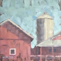 "Red Barn & Silo. Oil on Canvas. 10"" x 10"""