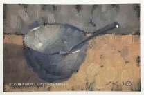 "Blue Bowl & Spoon. Oil on Paper. 4"" x 6""."