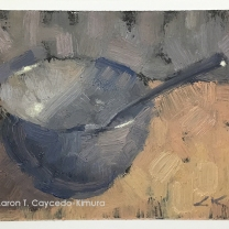 "Blue Bowl & Spoon. Oil on Paper. 4"" x 6"". SOLD"
