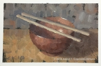 "Red Bowl & Chopsticks. Oil on Paper. 4"" x 6""."