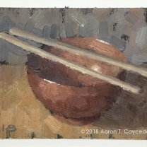 "Red Bowl & Chopsticks. Oil on Paper. 4"" x 6"". SOLD"