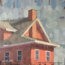 """Red House. Oil on Canvas. 8"""" x 8""""."""