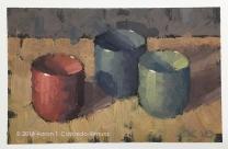 """Three Ochoko. Oil on Paper. 4"""" x 6""""."""