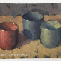 "Three Ochoko. Oil on Paper. 4"" x 6"". SOLD"