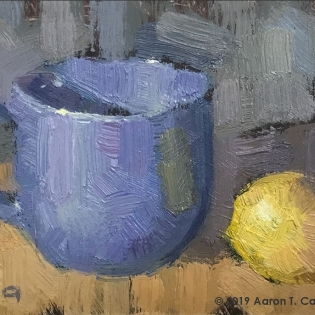 "Still Life with Blue Mug & Lemon. Oil on Paper. 4"" x 6""."
