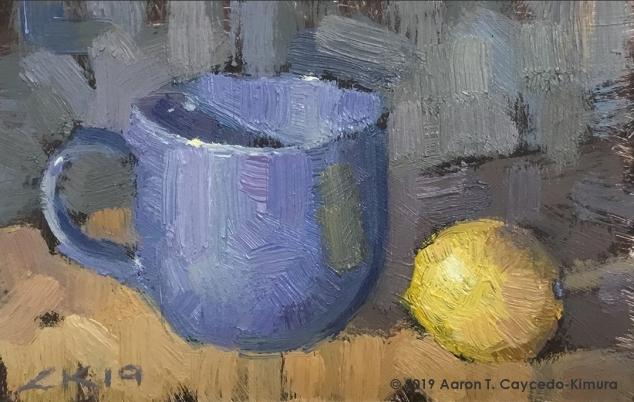 "Still Life with Blue Mug & Lemon. Oil on Paper. 4"" x 6""."