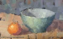 """Still Life with Clementine & Green Bowl. Oil on Paper. 4"""" x 6""""."""