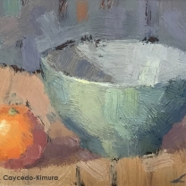 "Still Life with Clementine & Green Bowl. Oil on Paper. 4"" x 6""."