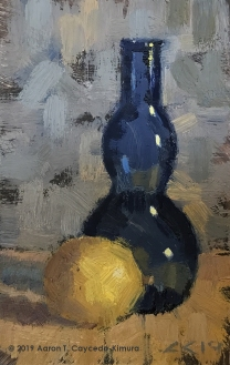 "Still Life with Lemon & Blue Glass Vase. 6"" x 4""."
