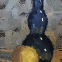 "Still Life with Lemon & Blue Glass Vase. 6"" x 4""."