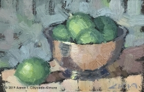 """Still Life with Paul Revere Bowl & Limes. Oil on Paper. 4"""" x 6"""". SOLD"""