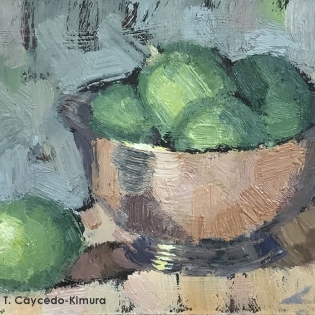 "Still Life with Paul Revere Bowl & Limes. Oil on Paper. 4"" x 6"". SOLD"