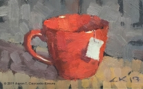 """Still Life with Red Mug & Tea Bag Tag. Oil on Paper. 4"""" x 6""""."""