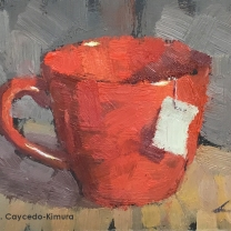 "Still Life with Red Mug & Tea Bag Tag. Oil on Paper. 4"" x 6""."
