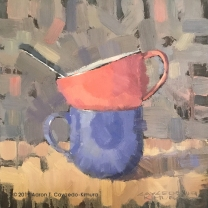 """Still Life with Spoon, Pink Cup, & Blue Mug. Oil on Canvas. 12"""" x 12"""". SOLD"""