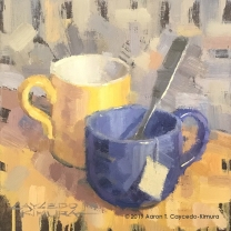 "Still Life with Yellow Mug, Blue Mug, Spoon, & Tea Bag Tag. Oil on Canvas. 10"" x 10""."