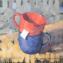 "Still Life with Red Cup, Blue Mug, & Tea Bag Tag. Oil on Canvas. 12"" x 12""."