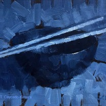 """Still Life with Bowl and Chopsticks. Oil on Paper. 4"""" x 6"""". UNAVAILABLE"""
