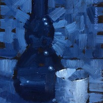 """Still Life with Glass Bottle and Ochoko. Oil on Paper. 6"""" x 4"""". SOLD"""