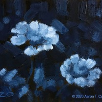 """White Zinnias. Oil on Paper. 4"""" x 6"""". SOLD"""