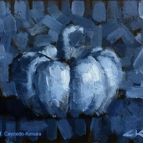 """Still Life with White Pumpkin. Oil on Paper. 4"""" x 6""""."""