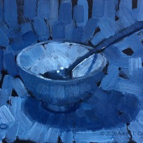 """Still Life with Bowl & Spoon. Oil on sanded paper. 4"""" x 6""""."""