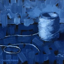 """Still Life with String. Oil on Paper. 4"""" x 6""""."""